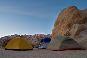 Camping among the boulders at Joshua Tree National Park