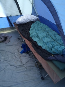 Roughing it in the tent.